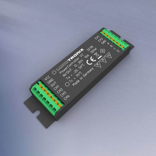 PowerController V2 Light Control Unit 1- 4 control channels for Tunable White, RGBW or single color for 10-30V max.300W