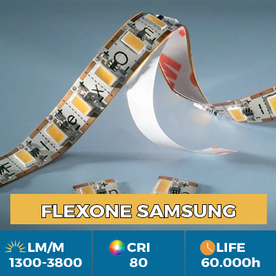FlexOne Flexible LED Strips, can be cut at each LED, light output up to 3800 lm / m
