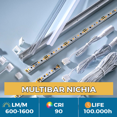 Professional Multibar Nichia LED Strips, Plug & Play, CRI90+, flux up to 1500 lm/m