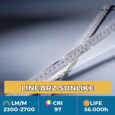 Professional LinearZ Modules with Toshiba-SSC SunLike TRI-R LED CRI97 +, Plug & Play Zhaga, flux up to 2600 lm / m