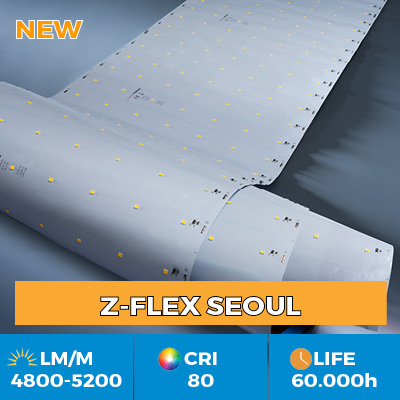 Professional Z-Flex Seoul LED Strips, up to 6200 lm per meter, in single or multi row versions
