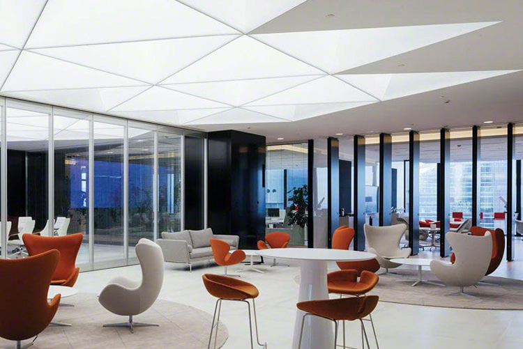 General lighting for commercial and business applications with stretched ceiling